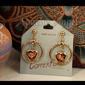 80's Pierced Copper Flake Earrings 18KP